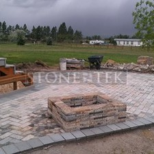 Mixed Blend 4x8 pavers and rectangle fire pit.