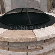 """36"""" Travertine firepit with table ledge"""