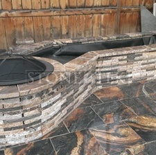 Custom firepit with water feature