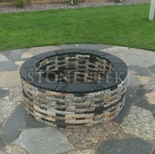 """Mixed blend Flagstone granite pavers and 45"""" firepit"""