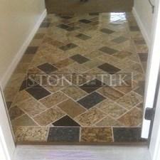 6x9 Mixed Blend (3cm) floor tile, Herringbone pattern.