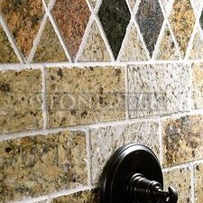 3x6. (3cm) Sand Blend  Granite with Diamond accent.