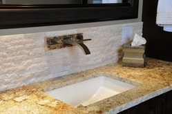 StoneTek RecycledTravertine splitface Dry Stack Tile Bach splash