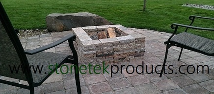 StoneTek Recycled Granite Square Fire Pit