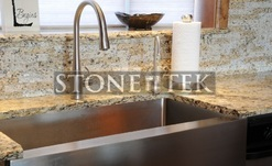 StoneTek recycled granite splitface drystack tile back splahs