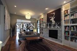 StoneTek recycled granite splitface drystack tile accent wall
