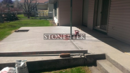 StoneTek recycled granite pavers, concrete overlay